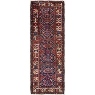 Hand Knotted Bakhtiar Semi Antique Wool Runner Rug - 3' 4 x 9' 7