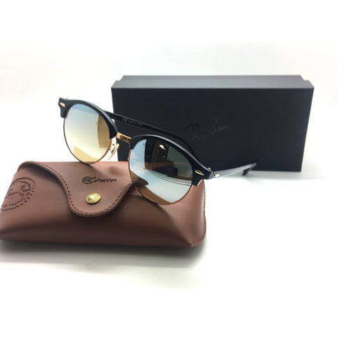 Ray Ban RB 4246 Clubround Sunglasses Black Rose Gold 901/9U Authentic 51mm