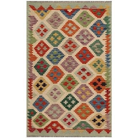 Handmade One-of-a-Kind Vegetable Dye Kilim Wool Rug (Afghanistan) - 2'9 x 4'2