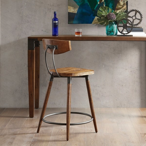 """Carbon Loft Magie Brown Counter Stool 24-inch With Back - 20"""" w x 19.5"""" d x 37""""h. Opens flyout."""