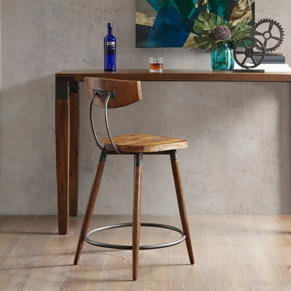 Ink Ivy Frazier Brown Counter Stool 24 Inch With Back 20 W X