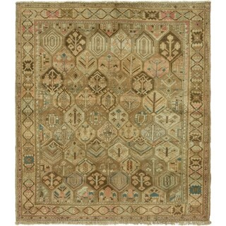 Hand Knotted Bakhtiar Antique Wool Square Rug - 7' x 7' 10