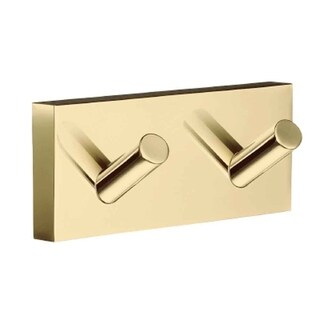 Smedbo House Scandinavian Design Polished Brass Double Bathroom Towel Hook