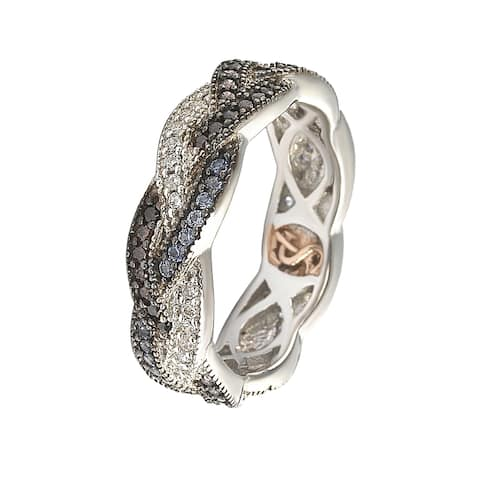 Suzy Levian Sterling Silver Cubic Zirconia Crossover Eternity Band