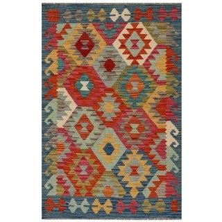 Handmade Herat Oriental Afghan Hand-woven Vegetable Dye Kilim Wool Rug (2'7 x 3'10)