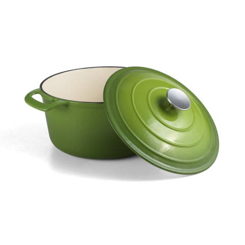 Cooks Tools Enamel Cast Iron Porcelain Coated 5-1/2 Quart Green Dutch Oven