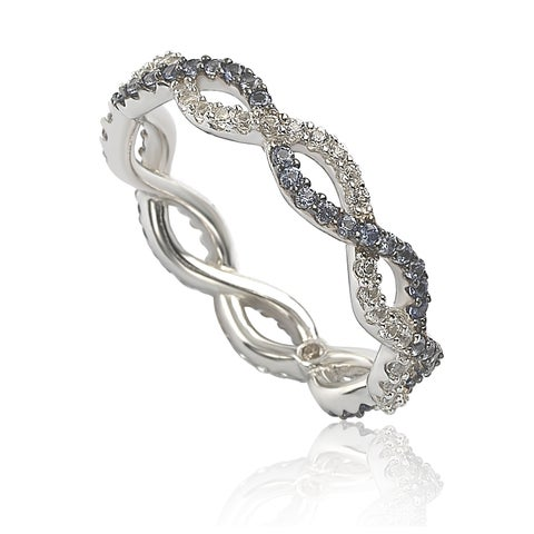 Suzy Levian Sterling Silver Sapphire & Diamond Accent Crossover Band