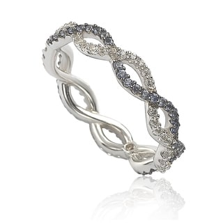 Suzy L Sterling Silver Sapphire Diamond Accent Crossover Band
