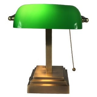 Traditional Bankers Lamp with Emeral Green Glass Shade