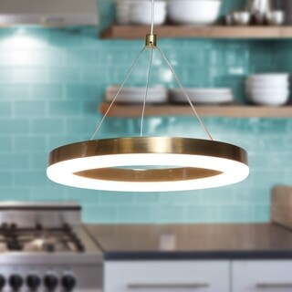 Hartwin Gold 1-Light LED 10-inch Pendant with Clear Shade (Adjustable Height)