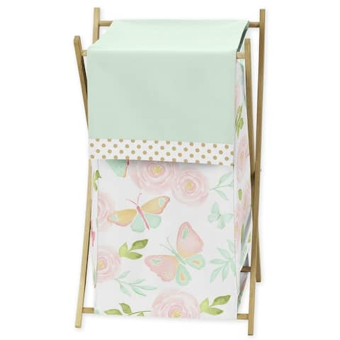 Sweet Jojo Designs Blush Pink, Mint and White Watercolor Rose Butterfly Floral Collection Laundry Hamper