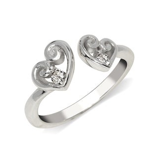 Curata Solid 925 Sterling Silver Elegant Adjustable Cubic Zirconia Scroll Heart Toe Ring (7mmx15mm) - N/A