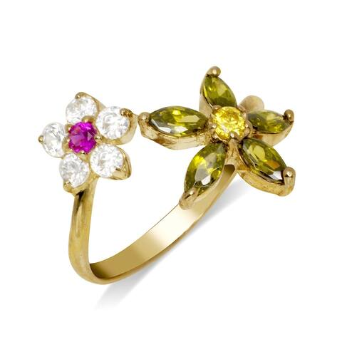 Curata Solid 10K Yellow or White Gold Floral Bypass Adjustable Multi-color Cubic Zirconia Toe Ring (14mmx15mm)