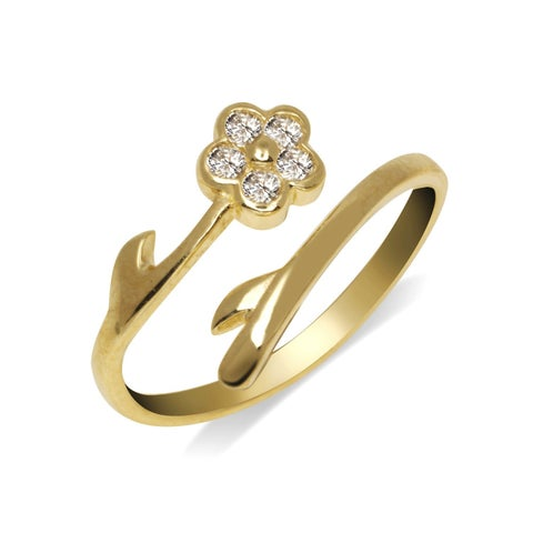 Curata Solid 10K Yellow or White Gold Elegant Flower Bypass Cubic Zirconia Adjustable Toe Ring (8mmx15mm) - N/A