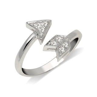Curata Solid 925 Sterling Silver Elegant Adjustable Cubic Zirconia Arrow Toe Ring (10mmx15mm) - N/A