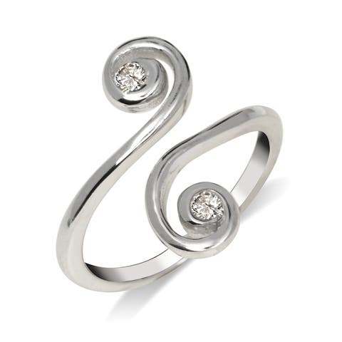 Curata Solid 925 Sterling Silver Elegant Adjustable Cubic Zirconia Large Scroll Toe Ring (15mmx15mm)