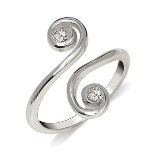 Curata Solid 925 Sterling Silver Elegant Adjustable Cubic Zirconia Large Scroll Toe Ring (15mmx15mm) - N/A