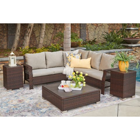 Havenside Home Stillwater Indoor/Outdoor Brown Resin Rattan Sectional with Taupe Cushions