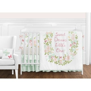 Sweet Jojo Designs Blush Pink, Mint and White Shabby Chic Butterfly Floral Collection Girl 9-piece Crib Bedding Set