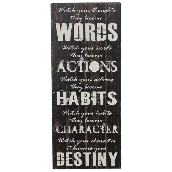 Shop Decorative Wooden Signs Watch Your Thoughts 7 5 X 18 Black