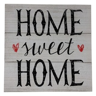 "Farmhouse Distressed Country Wood Sign Home Sweet Home 12"" x 12"" x 1"" - Black"