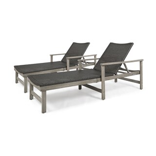 Hampton Outdoor Chaise Lounges Acacia Wood and Wicker (Set of 2) by Christopher Knight Home