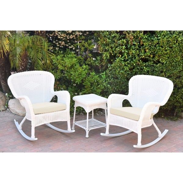 Shop Windsor White Wicker Rocker Chair And End Table Set