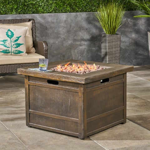"""Landman outdoor Fire Pit by 32"""" Gas-Burning Lightweight Concrete by Christopher Knight Home"""