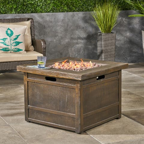 "Landman outdoor Fire Pit by 32"" Gas-Burning Lightweight Concrete by Christopher Knight Home"