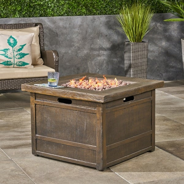 """Landman outdoor Fire Pit by 32"""" Gas-Burning Lightweight Concrete by Christopher Knight Home. Opens flyout."""