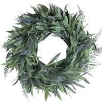 "10"" Artificial Dusty Blue Springtime Wispy Lavender Wreath"