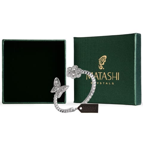 Women's Rhodium Plated Flower Butterfly Zircon Open Rose Ring By Matashi Size 6