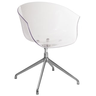 "Clear Acrylic Contemporary Reception Chair with Curved Arms and Waterfall Seat - 26""W x 26""D x 30.25""H"