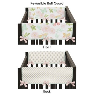 Sweet Jojo Designs Blush Pink Mint Gold Polka Dot Butterfly Floral Collection Side Crib Rail Guard Covers (Set of 2)