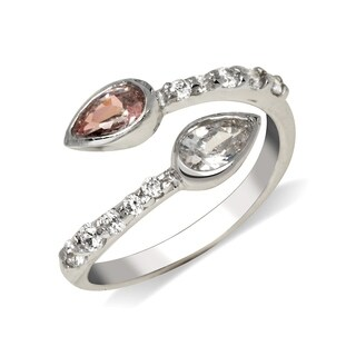 Curata Solid 925 Sterling Silver Bypass Adjustable Pink Pear Cubic Zirconia Toe Ring (10mmx15mm) - N/A