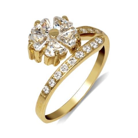 Curata Solid 10K Yellow or White Gold Elegant Large Flower Adjustable Cubic Zirconia Toe Ring (10mmx15mm)