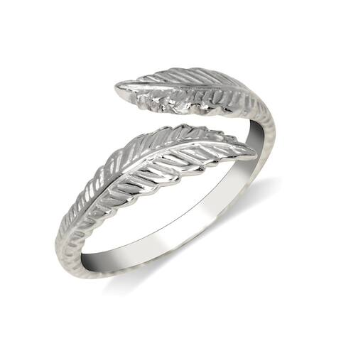 Curata Solid 925 Sterling Silver Textured Feather Bypass Adjustable Toe Ring (8mmx15mm)