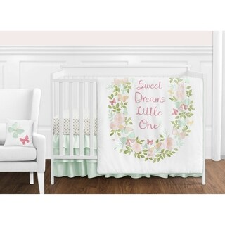 Sweet Jojo Designs Blush Pink, Mint and White Shabby Chic Butterfly Floral Collection Girl 11-piece Crib Bedding Set