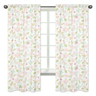 Sweet Jojo Designs Blush Pink, Mint Watercolor Butterfly Floral Collection 84-inch Window Treatment Curtain Panel Pair