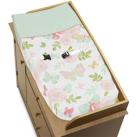 Sweet Jojo Designs Blush Pink, Mint and White Watercolor Rose Butterfly Floral Collection Changing Pad Cover