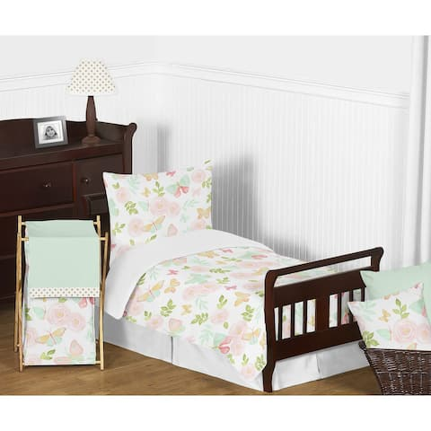 Sweet Jojo Designs Blush Pink, Mint, White Shabby Chic Butterfly Floral Collection Girl 5-piece Toddler Comforter Set