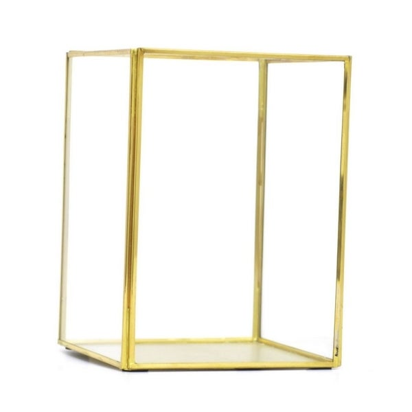 Benzara 68994 Chic Brass/Glass Candle Holder