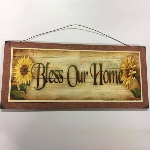 Shop Decorative Wooden Signs Sunflowers Bless Our Home 5 X 11 X 1