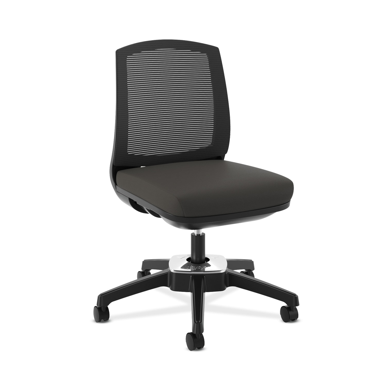 HON Active Task Chair - Armless Computer Chair for Office Desk, Black Mesh  (BSXVL4ES4T)