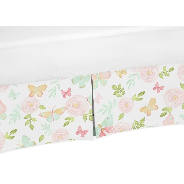 Sweet Jojo Designs Blush Pink, Mint and White Watercolor Rose Butterfly Floral Collection Queen Bed Skirt