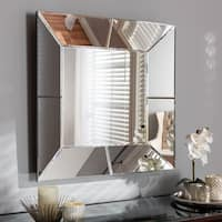 Contemporary Silver Square Wall Mirror by Baxton Studio