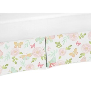 Sweet Jojo Designs Blush Pink, Mint and White Watercolor Rose Butterfly Floral Collection Twin Bed Skirt