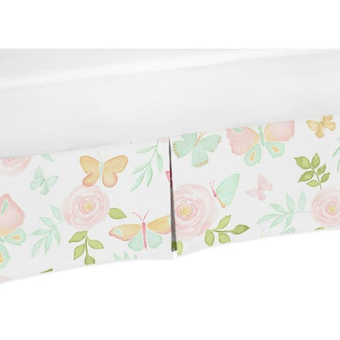 Sweet Jojo Designs Blush Pink, Mint and White Watercolor Rose Butterfly Floral Collection Toddler Bed Skirt
