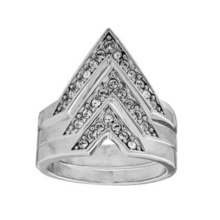Set Of 3 White Gold Plated Ring With Elegant Design By Matashi Size 5
