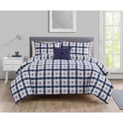 Copper Grove Kletsk Check and Stripe Bed in a Bag Comforter Set